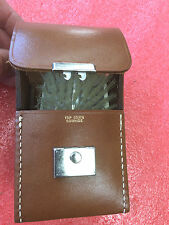FT1 vintage TRAVELING VANITY SET COMB BRUSH cowhide leather carry case COOL
