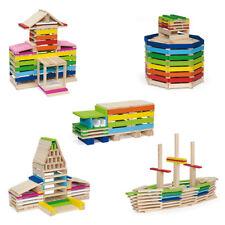 Wooden Building Blocks Flat Blocks 250  Piece Building Play Set