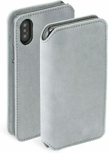 Krusell iPhone XS Max Broby Suede Leather Booklet 4 Card Wallet Case Cover-Grey