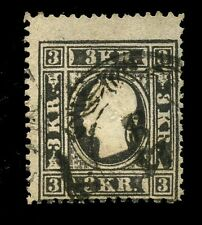 Austria Empire 1858/9 3k black typeII perf 15 SG23a USED cv£300