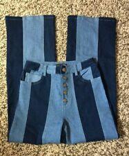 Fashion Nova Juniors' Dark & Light Blue Denim Striped Button Fly Jeans-Size 1