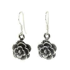 925 Sterling Silver - Rose Flower Dangly Drop Earrings (SE0349)