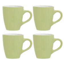 Sienna Set of 4 Coffee Mugs Green White Stoneware 12oz Home Office Tea Cups