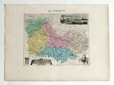 CÔTES DU NORD Carte géographique Vuillemin Atlas Migeon LANNION St. BRIEUC