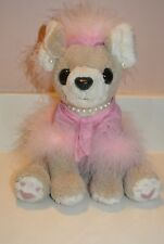 "9"" TALL SOFT PLUSH CHIHUAHUA IWTH PINK OUTFIT AND PEARL EARRINGS AND NECKLACE"