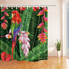 Colorful Macaw and Leaves Bathroom Shower Curtain Fabric w/12 Hooks 71*71inches