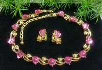 Vintage TRIFARI signed Breathtaking Necklace & Earrings Flower Set Pink Tulips