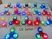 Wholesale lot 30x latest 3 modes LED Light Flash Hand Spinner Tri-Fidget EDC Toy