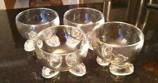 SET OF(4) GLASS FOOTED ICE CREAM/ DESSERT/CEREAL BOWLS - ABSOLUTELY LOVELY!