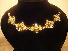 "Vintage 925 Mexico Bracelet Sterling Silver Gold Vermeil Grape Motif 5 Links 7"""