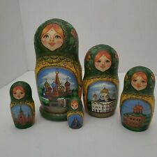 Russian Matryoshka Nesting Dolls St, Petersburg Architectural Signed 5 Piece
