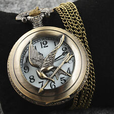 Antique Bronze Tone Love Bird Pocket Chain Quartz Pendant Watch Necklace Gift