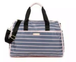 Betsey Johnson Pink & Grey Striped Nylon Weekender Bag + Pink Pom-Pom Key Chain