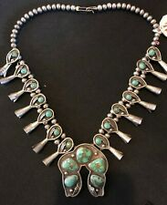 Vintage Squash Blossom Sterling Silver & Turquoise necklace - Must See!!