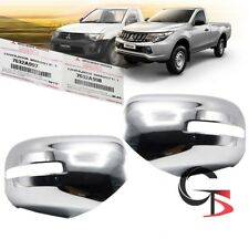 Fits Mitsubishi L200 Triton 2015 2016 17 Pair Wing Side Mirror Cover Chrome 2 Pc