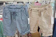New Ladies Italian Lagenlook super stretchy jogger Shorts size 12 14 16 18