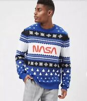 NASA Knit Ugly Sweater Style Men's Shirt Blue White Black Fair Isle Size L NEW