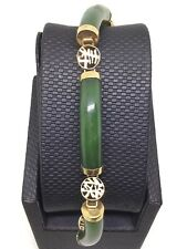 18K Yellow Gold Natural Green Jade Bracelet