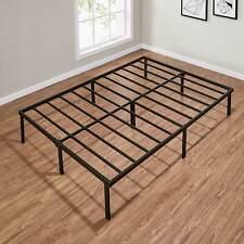 "14"" Queen Size Slat Bed Frame Heavy Duty Black Steel Bedroom Furniture Decor"