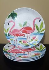 Cynthia Rowley Pink Flamingo MELAMINE Salad Side Luncheon Plates 4pc