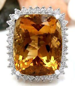 31.08 Carat Natural Citrine 14K Solid White Gold Diamond Ring