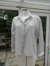 LADIES SHIRT BY MARKS & SPENCER SIZE 14 VERTICLE PATTERN WHITE COLLAR & CUFFS