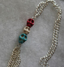 Coloured skull beads and silver-plated chain necklace. 17-19 inches