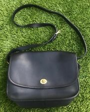 Vintage COACH City Bag Black Leather Satchel Flap Purse Crossbody 9790 EUC Gold