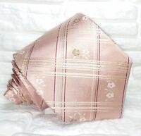 Cravatta uomo rosa scozzese a fiori Made in Italy 100% seta plaid checks