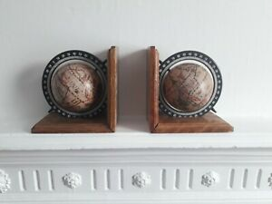 Wooden Book Ends With Spinning Globes