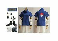 Naruto Uchiha Sasuke 2nd Cosplay Costume Shoes Props Whole Set