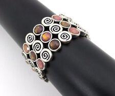 Stretch Bracelet Purple Brown Gem Spiral Swirl Bangle Fashion Jewelry New