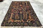 Authentic Hand Knotted Afghan Vintage Zakani Balouch Wool Area Rug 6.5 x 3.9 Ft