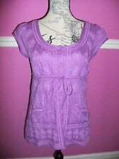 MONSOON TUNIC TOP 100% cotton SUMMER PARTY BLOUSE PURPLE 8  EXCEL COND.
