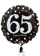 Black and Gold 65th Birthday Helium Balloon