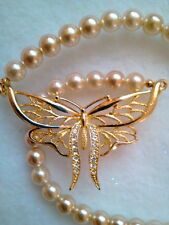 IVORY GLASS PEARL NECKLACE WITH CRYSTAL BUTTERFLY GOLD FINISH MADE IN CZECH REP