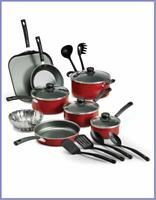 Cookware Set 18 Piece Pots Pans Non Stick Cooking Aluminum Professional Kit RED