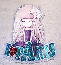 GRAND ÉCUSSON SEQUIN PATCH APPLIQUE à COUDRE - FILETTE I LOVE PARIS *11 x 13 cm*