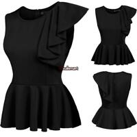 Women's Sleeveless One Shoulder Asymmetric Ruffles Slim Fit Peplum Top ES88 01
