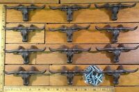 12 Steer Longhorn Drawer Pulls Bin Handles 4-1/2 cast iron Western skull Horns