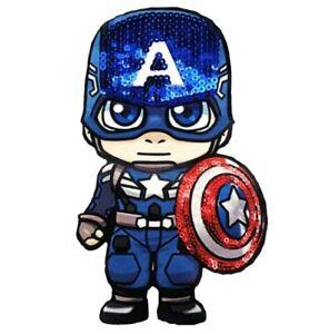 "Captain America Patch Sequin Cloth Glue/Sew On Applique 7.87"" X 4.33"" Avengers"
