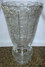 Bohemia 24% Lead Crystal QUEEN LACE Hand Cut Tall Vase Bohemian Czech 11.75""
