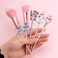 5PCS Cartoon Lilo and Stitch Brushes Cosmetics Eyebrow Makeup Tool Brush Set