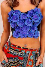 stunning designer vintage blue silk flowers bralet bustier top CLAUDIA MATAMO