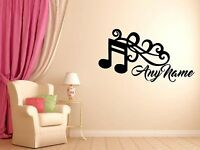 Personalised Music Any Name Vinyl Wall Sticker Art Decal Kids Bedroom