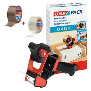 Tesa Paketbandabroller 56403 + je 1 Rolle braun / transparent Klebeband 64014