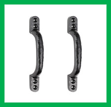 """2x 152mm 6"""" Black Antique Hot Bed D Pull Handle Door Gate Shed c/w Fixings (851)"""