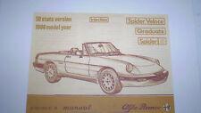 Alfa Romeo Spider Owner's Manual - 1986 -  PDF Version