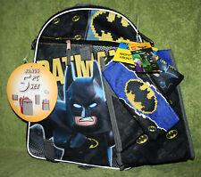 Lego Batman Boys Backpack 5pc School Set Water Bottle, Lunch Snack Tote, Wallet