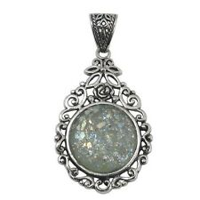 Sterling Silver Pendant w/ 2,000 Year Old Antique Roman Glass (BTS-NP7924/RG)